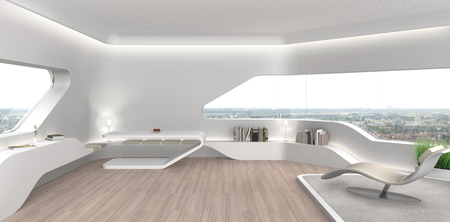 Foto de FICTITIOUS 3D rendering of a futuristic modern living room interior with fictitious book covers - Imagen libre de derechos