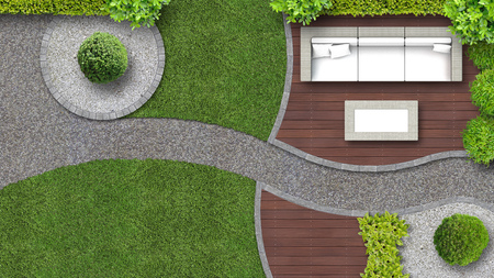 Photo for garden design in top view including garden furniture - Royalty Free Image