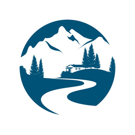 Illustration for vector pictogram with alpine landscape, creek or road, cottage and firs - Royalty Free Image