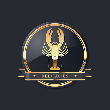 Illustration pour golden noble glossy delicacies or seafood vector lobster logo - image libre de droit
