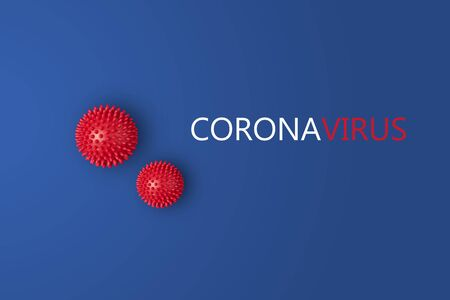 Photo pour Abstarct virus strain model of MERS-Cov or middle East respiratory syndrome coronavirus and Novel coronavirus 2019-nCoV with text on blue background. Virus Pandemic Protection Concept - image libre de droit