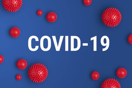 Photo for Inscription COVID-19 on blue background. World Health Organization WHO introduced new official name for Coronavirus disease named COVID-19 - Royalty Free Image
