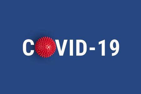 Photo pour Inscription COVID-19 on blue background with red abstract virus strain model. World Health Organization WHO introduced new official name for Coronavirus disease named COVID-19 - image libre de droit