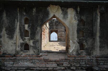 The ancient royal palace gate Vishnu temple in Lopburi Thailand.