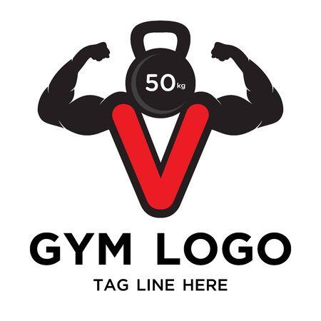 Illustration for strong gym logo design simple - Royalty Free Image