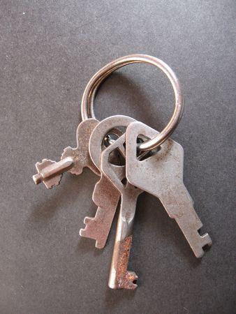 A group of ancient keys slightly damaged