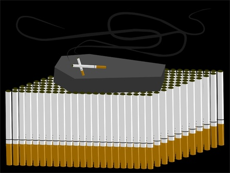 cigarettes and coffin symbolizing a harmful addiction