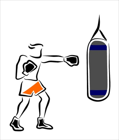 boxer training with a punching bag