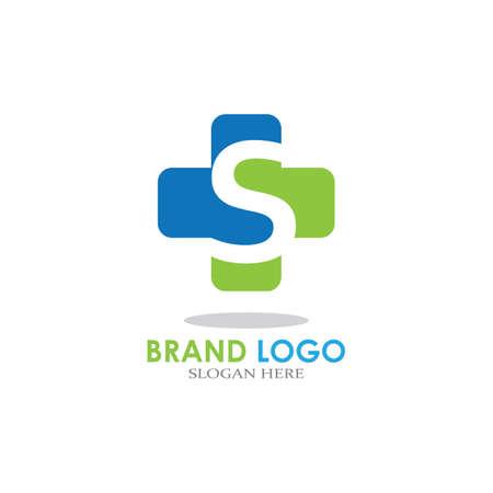 Illustration pour letter with Plus Hospital logo design vector - image libre de droit