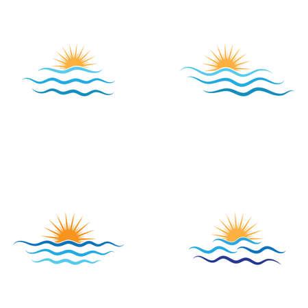 Illustration pour Water wave and sun icon vector illustration design logo - image libre de droit