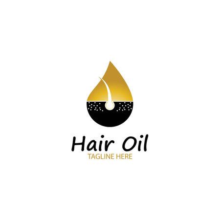Illustration pour hair oil essential logo with drop oil and hair logo symbol-vector - image libre de droit