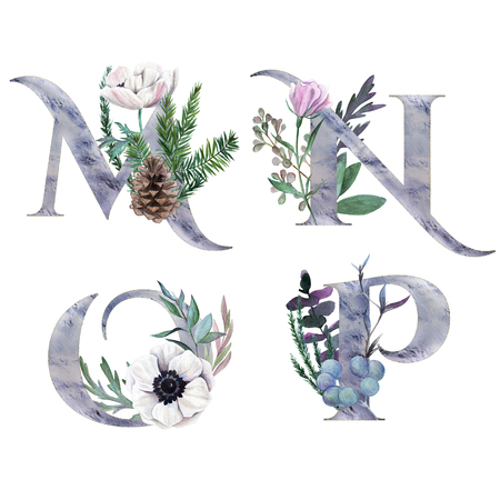 M, N, O, P. Decorative floral alphabet with silver letters and watercolor botanical decoration.