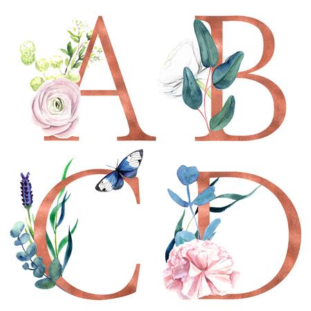 Foto de A, B, C, D, Decorative floral alphabet with gold foil letters and watercolor botanical decoration. - Imagen libre de derechos