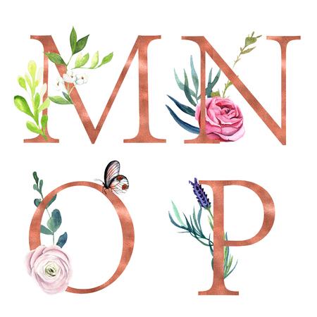 Foto de M, N, O, P, Decorative floral alphabet with gold foil letters and watercolor botanical decoration. - Imagen libre de derechos