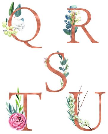 Foto de Q, R, S, T, U, Decorative floral alphabet with gold foil letters and watercolor botanical decoration. - Imagen libre de derechos
