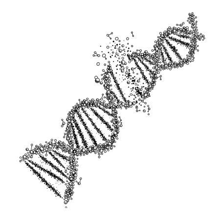 Illustration pour Crushed DNA spiral, hand drawn vector illustration - image libre de droit