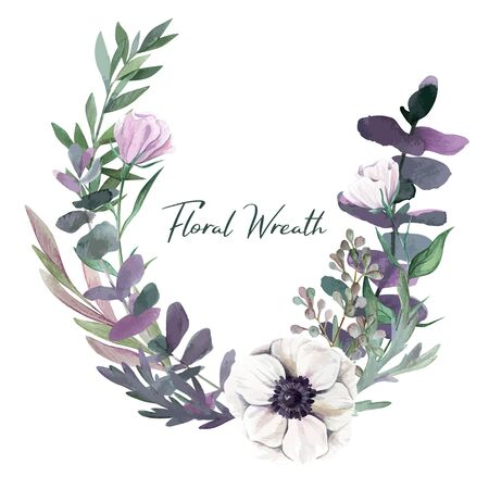 Botanical round wreath, watercolor hand drawn vector illustration