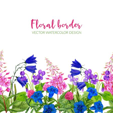 Illustration for Watercolor seamless border, pink and blue flowers - Royalty Free Image