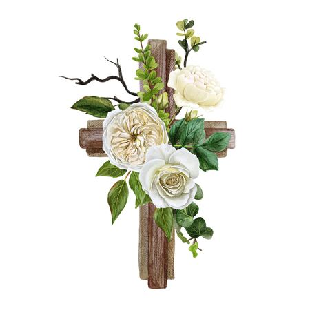 Foto de Christian wooden cross decorated with flowers and leaves - Imagen libre de derechos
