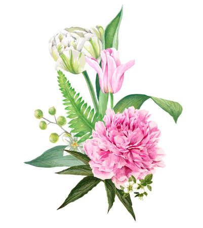 Illustration pour Peony and tulips bouquet, Hand drawn vector - image libre de droit