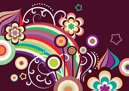 Multi-colored abstract flowers on dark brown background