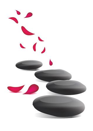 Spa stones and petals