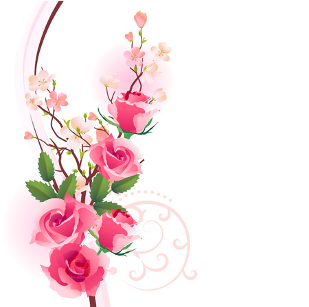 Design element with bunch of roses