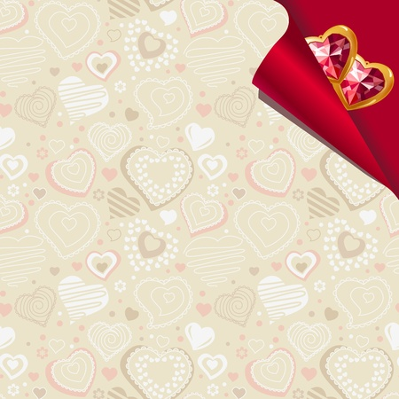 Pattern with beige contour hearts