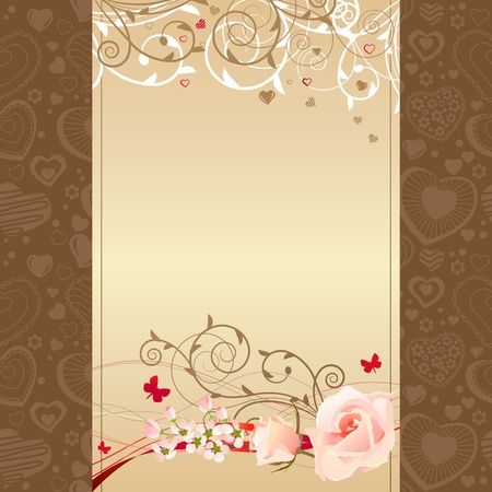 Frame with roses and blossoming branches