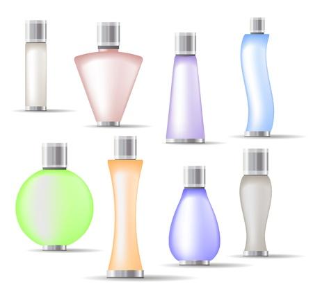 Illustration pour Set of fragrance bottles isolated  - image libre de droit