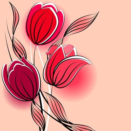 Pastel background with stylized tulips