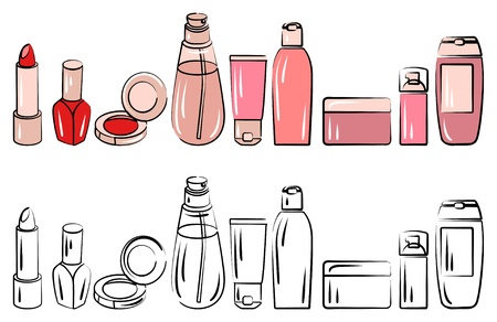 Set with various cosmetics