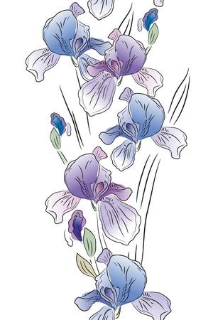 Seamless vertical border with irises