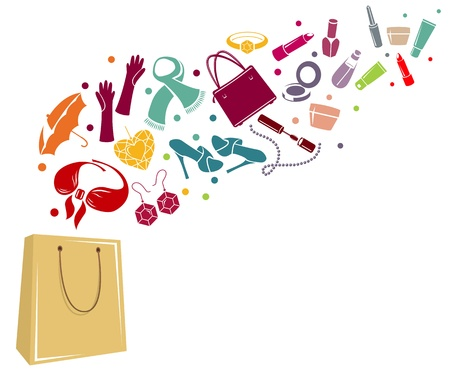 Different woman's things in bag