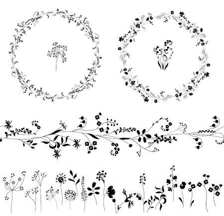 Illustration pour Floral endless pattern brush made of  different plants.  Flowers for romantic design, decoration,  greeting cards, posters, wedding invitations, advertisement. Round frames - image libre de droit