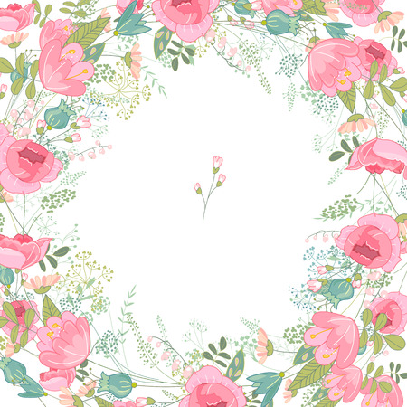 Illustration pour Spring frame with contour roses and different flowers. Template for your design, greeting cards, wedding announcements, posters. - image libre de droit