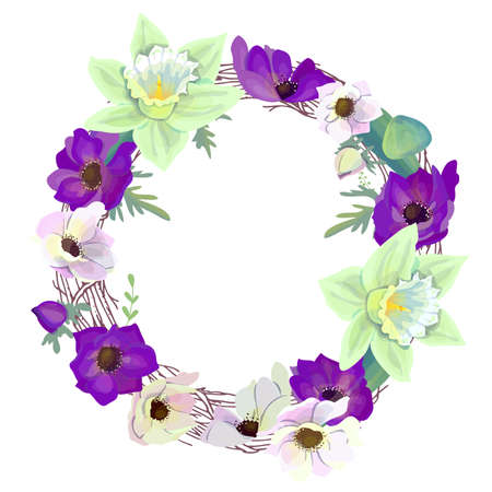 Illustration pour Round wreath with romantic violet and white flowers. Anemones and daffodils in circle. Illustration can be used as bridal and spring design template. - image libre de droit