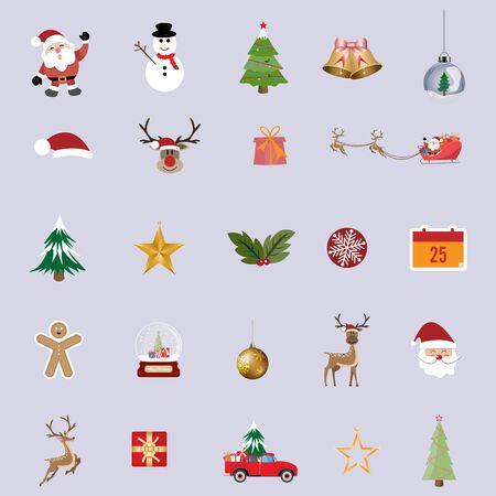 Illustration pour Collection of christmas items elements and decoration, Christmas ornament symbols background - Vector illustration. - image libre de droit