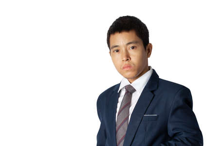 Photo for Portrait of asia businessman in suit isolated on white background with copy space. - Royalty Free Image