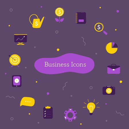 Illustration for Business icons collection on dark background. Symbols for use on website or infographics. Vector icons template - Royalty Free Image