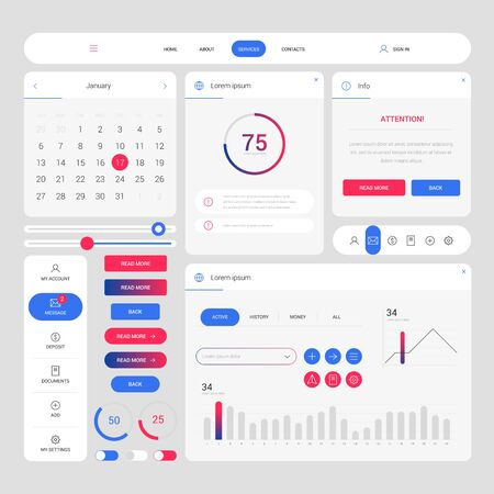 Illustration for Color modern web design elements frame template. Web elements with navigation, buttons, icons for use on the site. Daily ui. Web interface template - Royalty Free Image