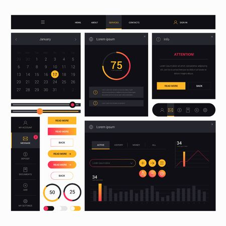 Illustration pour Modern web design elements frame template on black background. Web elements with navigation, buttons, icons for use on the site. Daily ui. Web interface template - image libre de droit