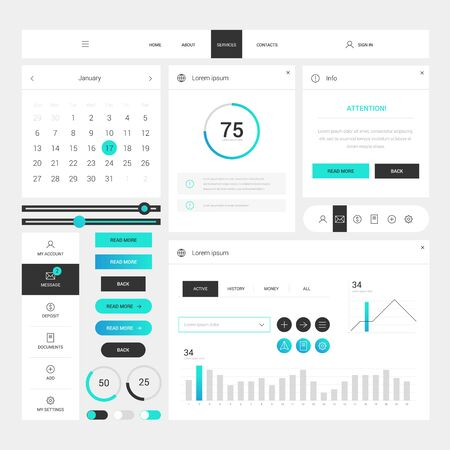 Illustration for Modern web design elements frame template on white background. Web elements with navigation, buttons, icons for use on the site. Daily ui. Web interface template - Royalty Free Image