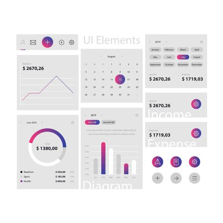 Illustration pour Minimal web and app ui elements template on gray background. Web interface with navigation, buttons, icons for use on the site. Daily ui - image libre de droit