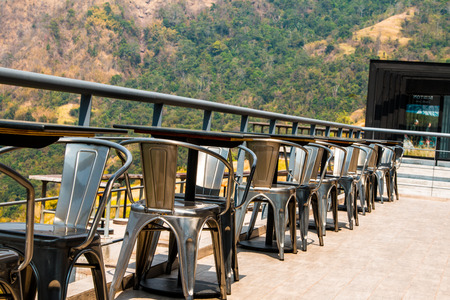 outdoor furniture  chairs and table on terrace