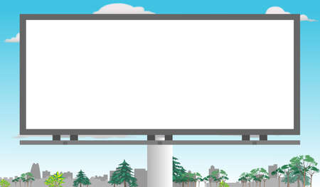 Illustration for Billboard in the middle of city for copy space (Horizontal) - Royalty Free Image