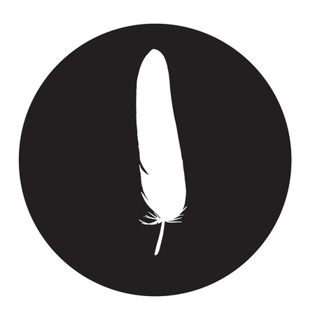 Detailed feather silhouette in a black circle. Laconic and stylish illustration. Monochrome vector