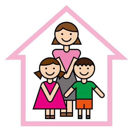 Illustration for Mother and children vector illustration. - Royalty Free Image