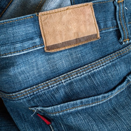 Back of blue jeans with leather label