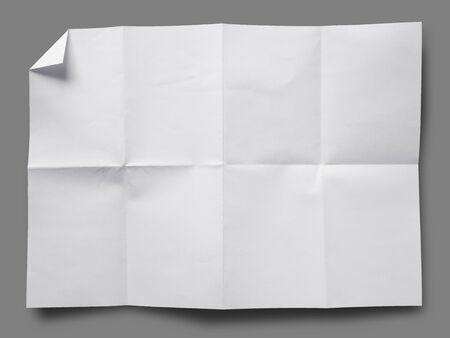 Full page of White paper folded and wrinkled on gray background with shadow